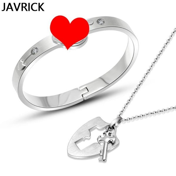 Мода Мужчины Женщины в форме сердца браслет титана стали Концентрические замок Пара браслетов ожерелье комплект ювелирных изделий Подарки