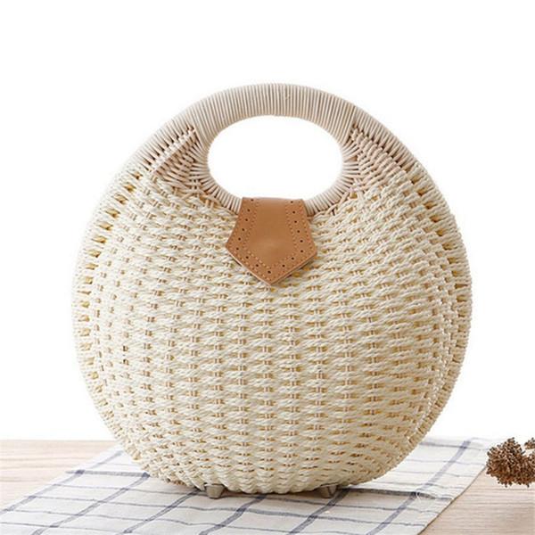 Women Bamboo Handbag Fashion Summer Vacation Totes Shell Bag Bohemian Durable Rattan Straw Beach Bags LJJP292