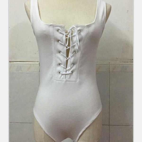 Frauen Frenulum T Shirt Badeanzug ärmellose Bikini Strampler Sommer Leak Back Kurzarm Weiß Schwarz Creative 22rr C1