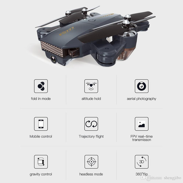 Foldable 720P WIFI FPV Camera RC Drone Quadcopters Set Height Hodling Auto Return Trajectory Fly APP Control Gravity Sense FQ35