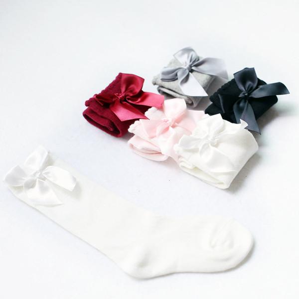 5 farben kinder sport socken mädchen bogen baumwolle mode luxus designer socken baby tube lange prinzessin dancewear socken kleidung