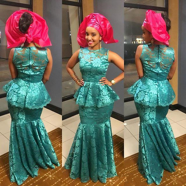 2019 Arabia Style Evening Dress Sheer Neck Sleevelss lace Mermaid Dubai Aso Ebi Prom Gown Zipper Back Floor Length Formal Evening Dress