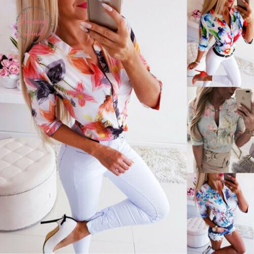 summer women 3 4 sleeve floral loose blouses  woman female shirt ol casual button blouse streetwear 2019 new arrival