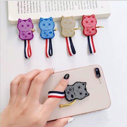 Evrensel Metal Parmak Yüzük sevimli cep telefonu tutucu Standı Yüzük Güzel Karikatür Kedi Smartphone Destek Halka Tutucu
