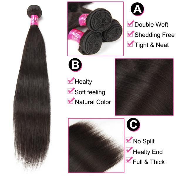 Beauty Grace Brazilian Straight Hair Weave Bundles With Closure 3 Bundles Non Remy Human Hair Bundles With Closure Middle Part
