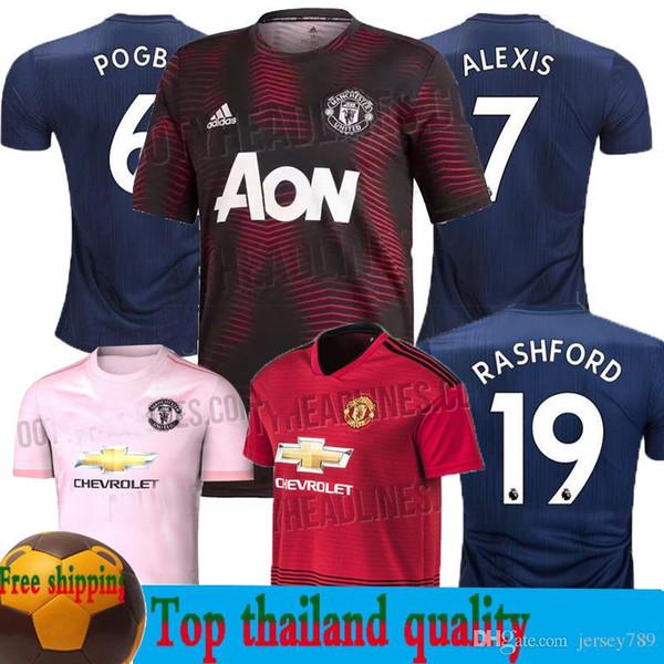 the best attitude 28f66 bed83 2019 18 19 Manchester United Soccer Jersey 2019 Man Jersey UTD Training  Wear POGBA LUKAKU RASHFORD ALEXIS Football Shirt Kit Adult MEN Uniform From  ...