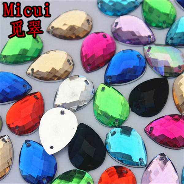 Micui 100pcs 13*18mm Drop Sew On Crystal Rhinestones Flatback Strass Sewing Crystals Stones Acrylic Gems For Clothing Craft ZZ57