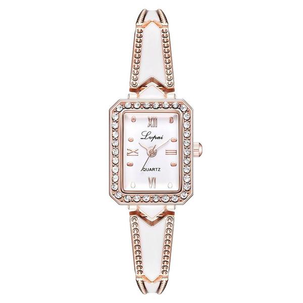 Great Elegant Women Rhinestone Inlaid Square Dial Quartz Bracelet Wrist Watch Gift
