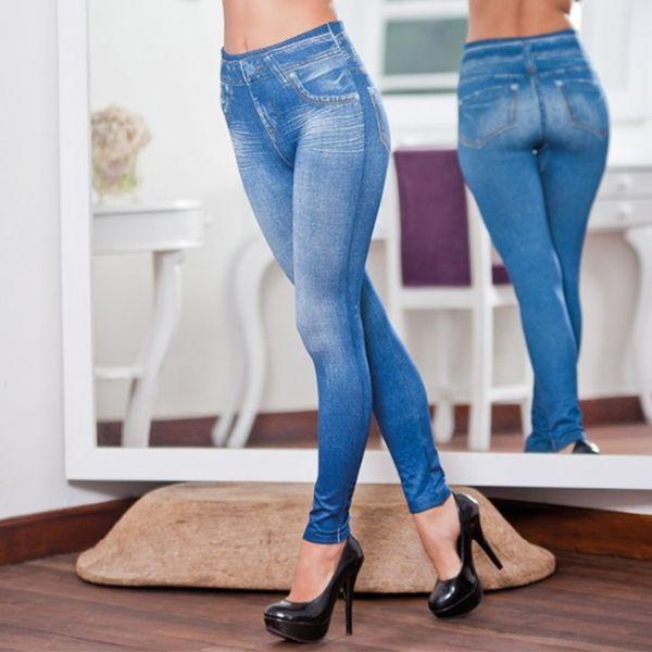 S-XXL Mujeres Jeans forrados de invierno con forro polar Genie Slim Fashion Jeggings Leggings 2 bolsillos reales Mujer Fitness Pantalones