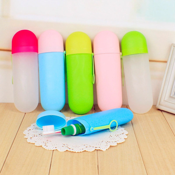 best selling Solid colors portable travel toothpaste toothbrush holder cap case household storage cup outdoor holder bothroom children accessories C6043