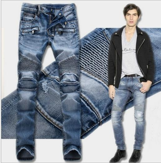 2018 Skinny Biker Jeans Men High Stretched Jeans with Zippers Pleated Slim Jean Men's Scratched Pants Trousers