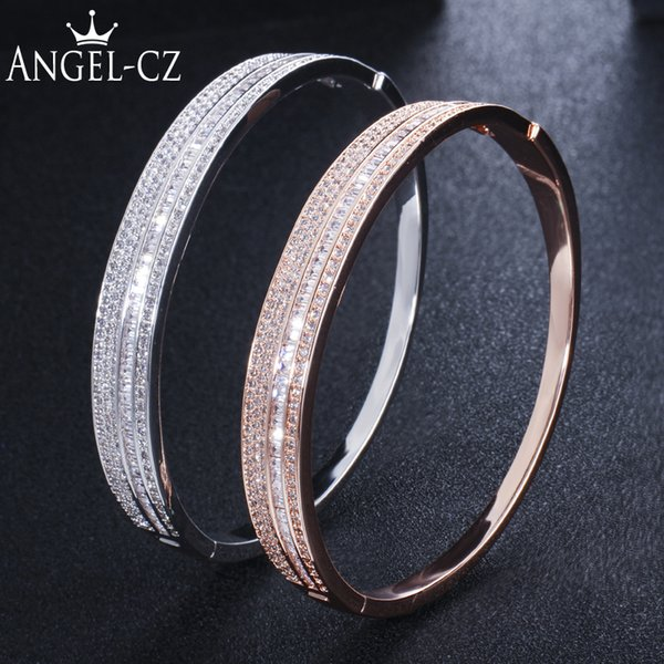 ANGELCZ Luxury Brand Best Zircon Rose Gold And Silver Color Simple Round Bangle Jewelry New Energy Bracelets For Women Men AB124 C19010401