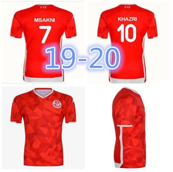 a1f7ab7e3 19 20 Tunisia national team Soccer Jerseys 7 Msakni 10 Khazri 23 Sliti  Wahbi Khaoui FAKHREDDINE