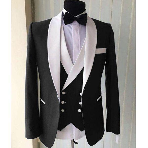 Abiti da uomo di nozze neri per smoking dello sposo Scialle bianco Risvolto Giacca a tre pezzi Gilet Pantaloni Gilet doppio petto Personalizzato