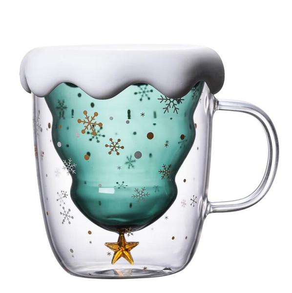 Árbol de Navidad de aislamiento Copa de doble pared de vidrio tazas de café con Silocone tapa taza del copo de nieve Estrella de Navidad Vaso de Navidad decorar LXL615