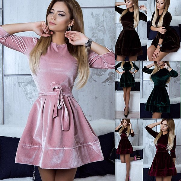 Women's Vintage Dress Long-Sleeve Slim Suit Collar Solid Color Skirt Autumn Casual Sexy Crew Neck Dresses Size S-XL