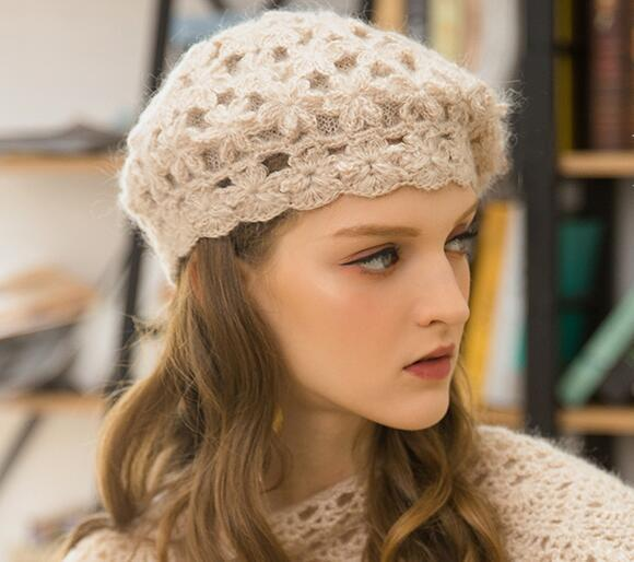 Double berets for flowers, spring and autumn woollen hats, sweet and lovely British knit hats, double layers of warm lining, baby fine mohai