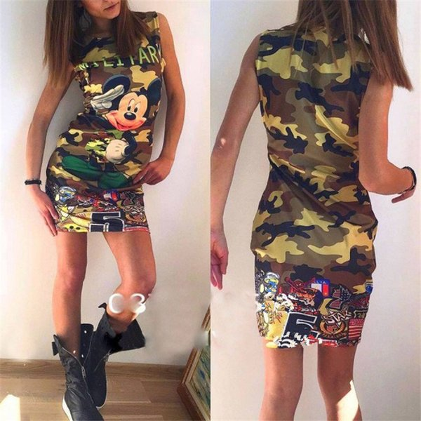 women Dress Fashion Camouflage Double-sided Printed Sleeveless Vest Mini Dress 2019 Summer Cute Women Clothing designer clothes