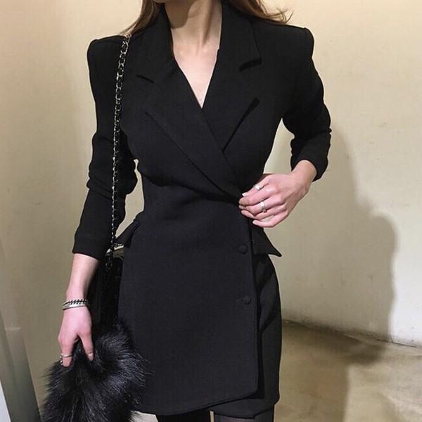 Nouvel automne et hiver robe professionnelle de travail féminin veste coupe-vent veste longue veste de costume décontracté simple boutonnage