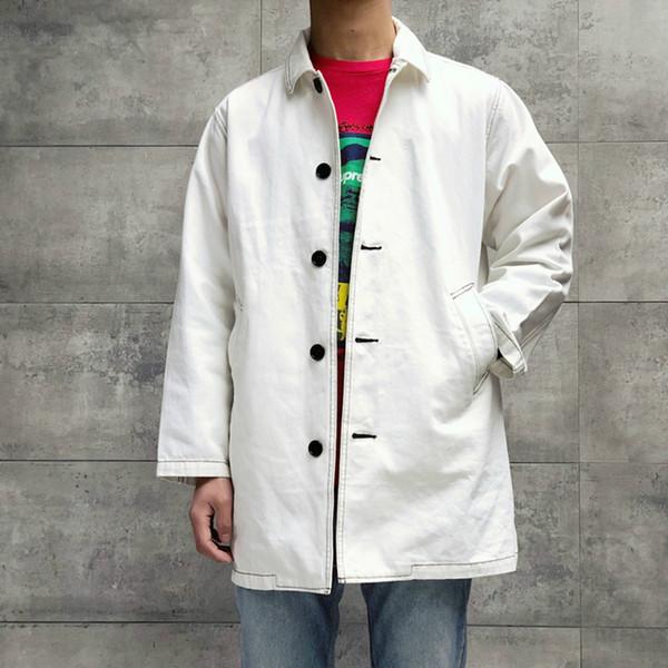 Trench coat lavato da lavoro Lavaggio dislocazione lavato da soprabito SS18 Giacca da uomo e da donna in denim Cappotto lungo di alta qualità HFWPJK140