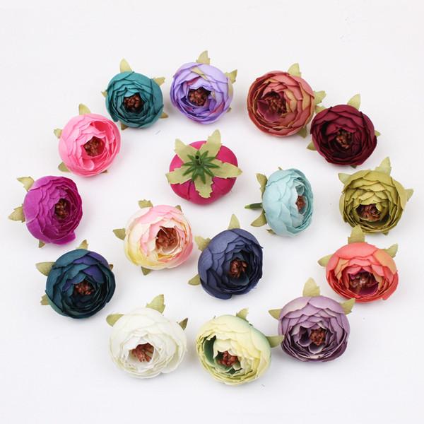 New 16 Colors Tea Rose Bud 5cm Peony Fake Bridal Bouquets Silk Flowers Head Party Decoration Garden Decor