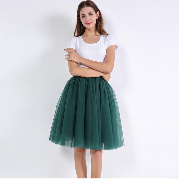7c71ad4e1731f 5 Layers 60cm Princess Midi Tulle Skirt Pleated Dance Tutu Skirts Womens  Lolita Petticoat Jupe Saia