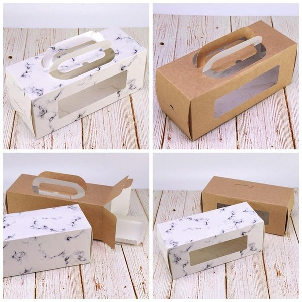 Kraft Paper Window Cookie Boxes Cuboid Portable Eco Friendly Cake Roll West Point Box Gift Wrap Hot