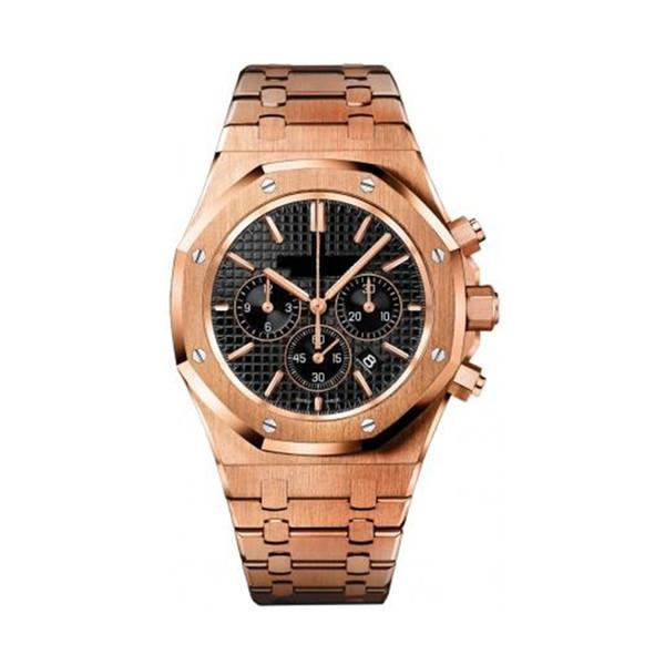 Nuevo reloj de lujo para hombre de la serie ROYAL OAK Serie Oro rosa Acero Stanless 42 mm Alta calidad VK Cronógrafo Movimiento de cuarzo Relojes deportivos