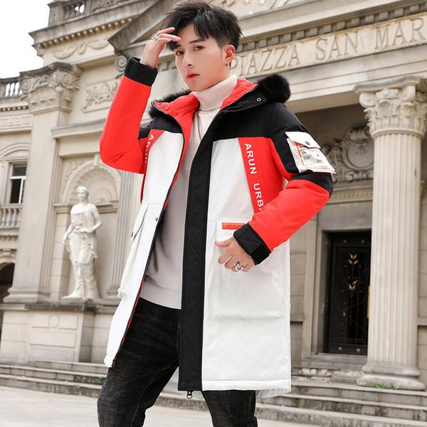 Мужские пальто зимы и длинные участки корейской версии Trend из хлопка ватник вниз Padded Jacket Mens Winter Большой воротник из меха Top