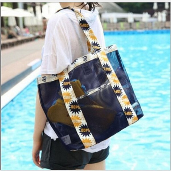 New Beach Mesh Sunglass Clothing Shoulder Print Flower Female Large Capacity Storage Bags Oxford Printed Tote Outdoor Travel Bag