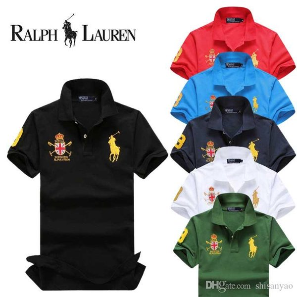 2019 Sales Business men shorts sleeve Polo shirts Popular Cotton embroidery Wheat Polos Custom Designer made Dress shirts