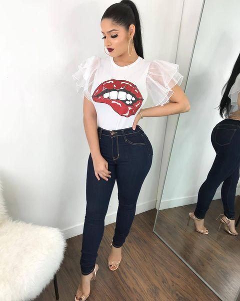 Summer Black T Shirt Women Tops Lace T-shirt Lips Printed Short Sleeve Tshirt Women Tops Tees