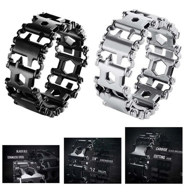 29 in 1 Multifunction Tread Bracelet Stainless Steel Bolt Driver Tools Kit Travel Friendly Wearable Multitool Wearing Equipment EDC Tools