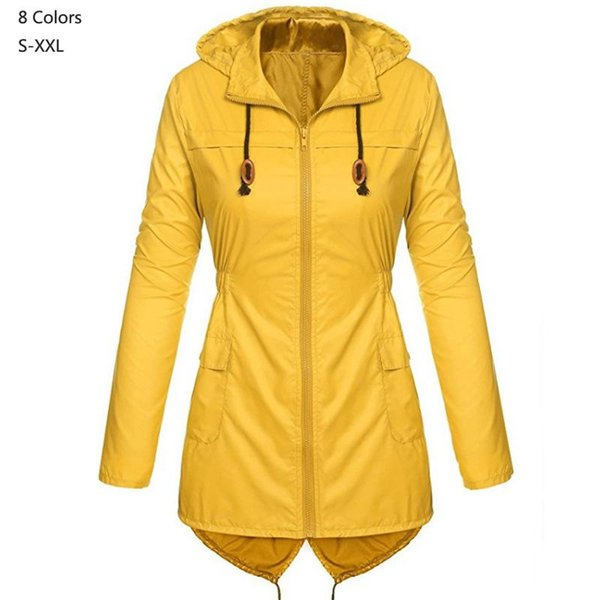 2019 Spring Autumn Fashion Women zipper waterproof Coat Medium Long Casual Hooded Coat Female Trench raincoat lady outerwear