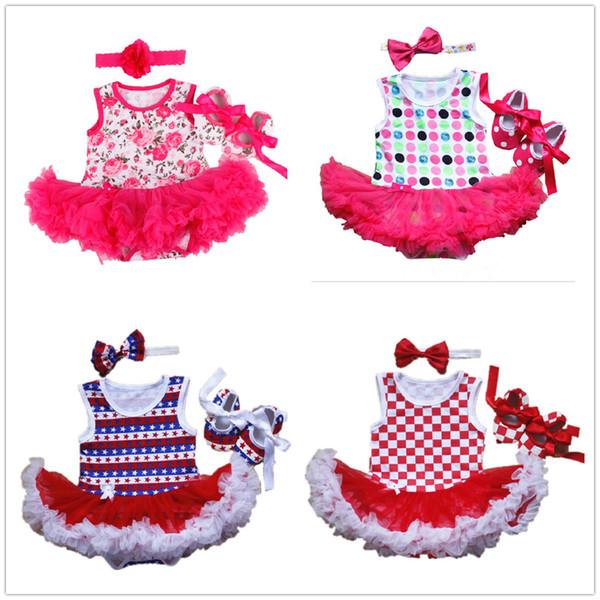 Floral Baby Girl Clothes Suit Shoe Hairband 3-Pieces Jumpsuits Newborn Bodysuit Tutu Dress First Walker Infant Lace Dresses Tops