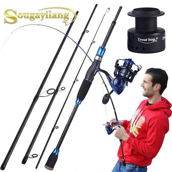 Sougayilang Vara de Pesca Combos 4 seções Vara De Pesca 13 + 1BB Alumínio Spinning Reels Bass Trout