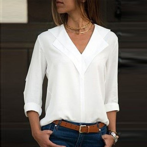Fashion womens long sleeve tops white t-shirt for women Chiffon Solid T-Shirt Office Ladies Plain Roll Sleeve Bluses Tops