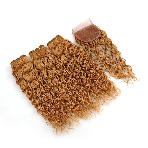 Клубничное блондиночное закрытие с водной волной и светлыми волосами 27 Уток для волос Мокрый и волнистый