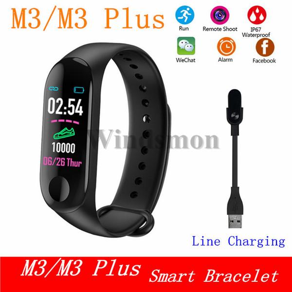 Cheapest M3 Fitness Smart Bracelet IP67 waterproof Heart Rate Monitor Sleep monitoring smartwatch PK Mi Band Wristbands Detachable M3 Plus