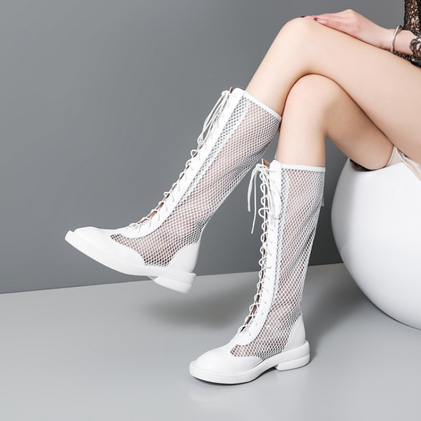 2019 new mesh sandals women's flat leather Knee high boots summer hollow breathable mesh boots Rome shoes cool
