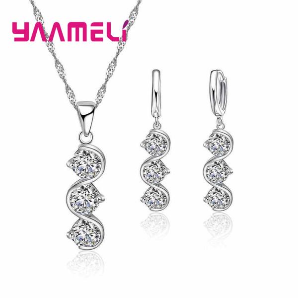 YAAMELI Orecchini a forma di S Gioielli da donna a forma di S Collana a forma di orecchini Gioielli da sposa in argento puro 925