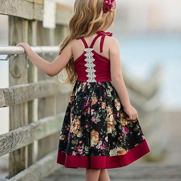 Vestidos da menina Do Bebê moda Meninas roupas Vintage Floral Cauda Suspender irregular Vestidos 9 M 12 MM 2 T 3 T 4 T 5 T Atacado 2019 Primavera Verão