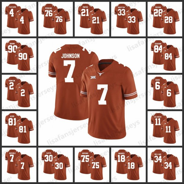half off 0c10b 7b68f 2019 Mens Texas Longhorns College Jerseys 4 Kenny Vaccaro 76 Kent Perkins  21 Kyle Porter 7 Marcus Johnson NCAA Jerseys College Football Jersey From  ...