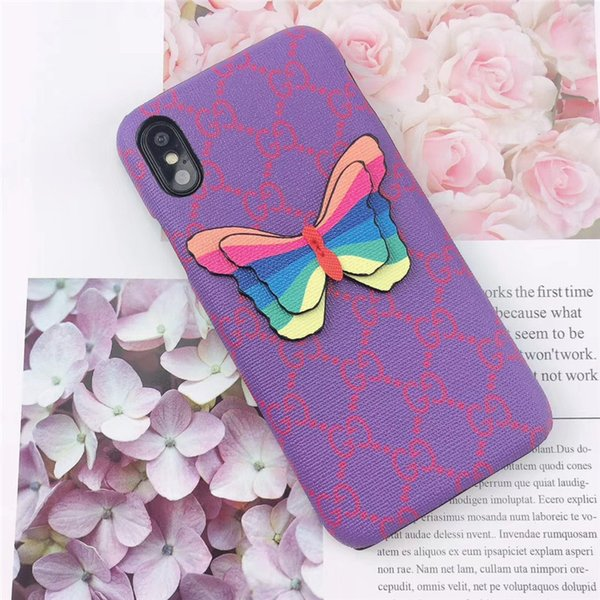 One Piece luxury phone case fashion For iPhone 6S 7 8 P X XS Paint and butterfly Designer phone back cover For gifts