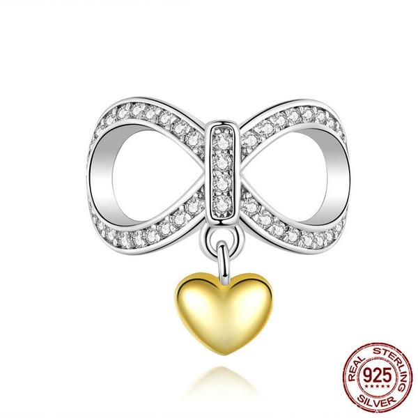 bamoer Infinity Love with Heart Charm for Women Jewelry Making Fit Original Bracelet 925 Sterling Silver Accessories