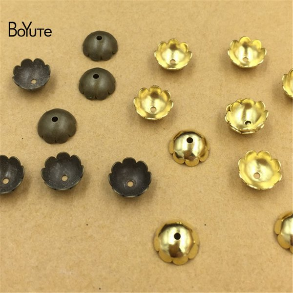 BoYuTe (400 Pieces/Lot) Wholesale Metal Brass Stamping 8MM Flower Bead Caps Diy Hand Made Jewelry Making Materials