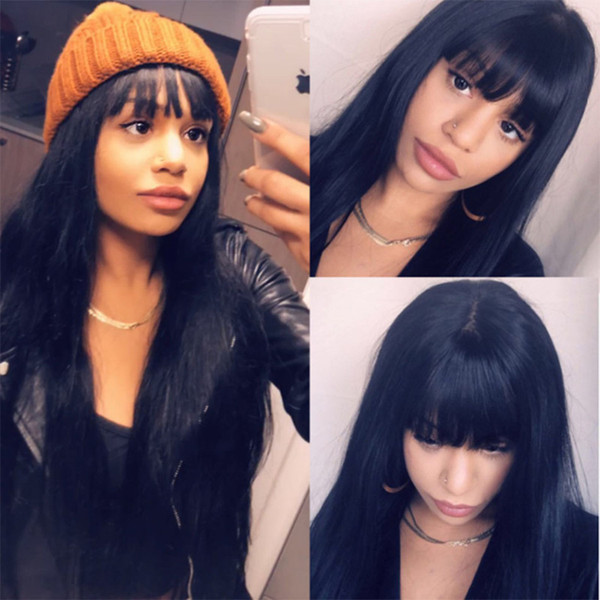 Brazilian Virgin Full Lace Human Hair Wigs With Chinese Bangs Glueless Lace Front Wig Straight Full Lace Wig For Black Woman