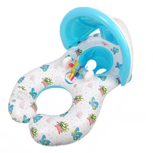 Mother Child Inflatable Swimming Ring Baby Float Swim Ring with Sunshade
