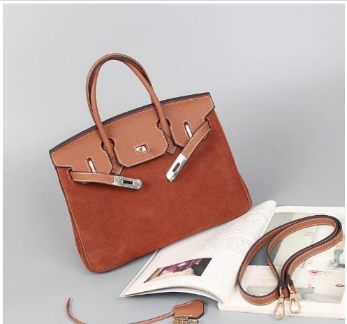 25CM 30CM 2018 Big Brand Suede Totes Two-tone Shoulder bags With Lock Vintage women Lady Cowhide Genuine leather Fashion Handbag wholesale