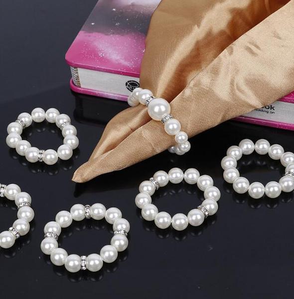 Il tovagliolo di nozze delle perle del tovagliolo delle perle bianche incastona per le decorazioni delle decorazioni della tavola del partito di ricevimento nuziale DHL libera il trasporto H079